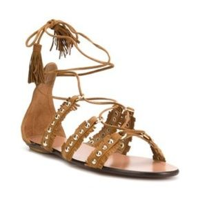 Aquazzura Tulum Flat Sandals in Cognac 38